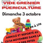 ⚠ Annulé et reporté au 13 et 14 novembre ⚠  Vide grenier puériculture